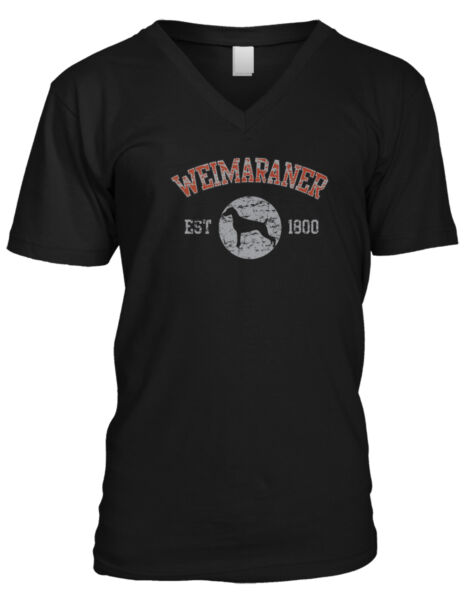 Weimaraner EST 1800 Dog Lovers Pure Bred Puppy Canine Cute Breed New Mens V Neck $12.32