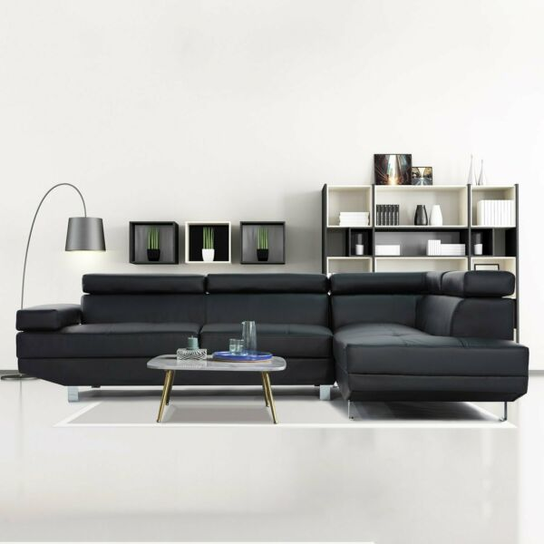 2 Piece Modern Contemporary Black Faux Leather Sectional Sofa with Chrome Legs $599.99
