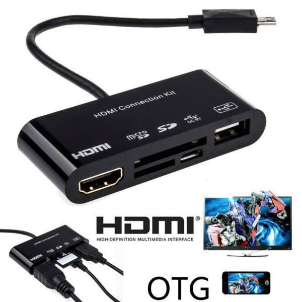 OTG SD TF Card Reader Fr Samsung S3 S4 S5 Note 2 3 to HDMI TV HDTV Adapter Cable