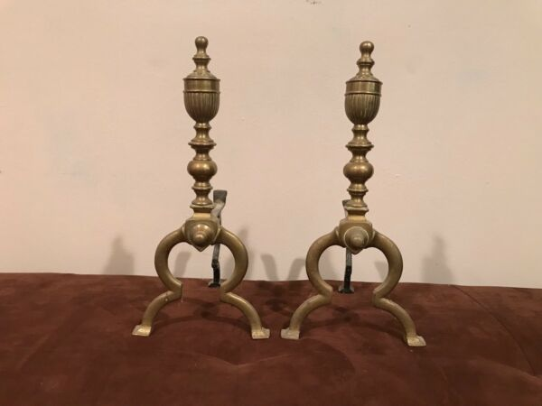 Two sets of Antique Brass & Iron Fireplace Stand Decorative VictorianFrench