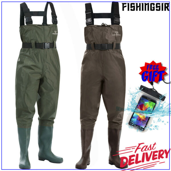 FISHINGSIR PVC NYLON 2-PLY Chest Waders Rubber Boot Foot Waders w Cleated Sole