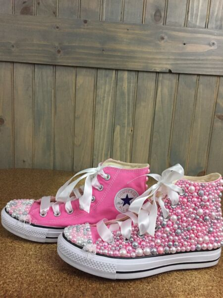 Pearl Embellished Pink High Top Converse Women's 7.5 NWOB ONE OF A KIND
