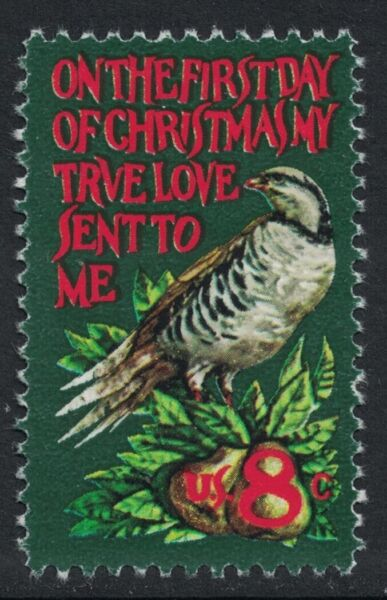 Scott 1445 Partridge in a Pear Tree Christmas stamp MNH 8c 1971 unused mint