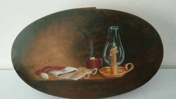 Rare Large Vintage Rustic Bentwood Pantry Oval Hand painted Box  Folk Art Home