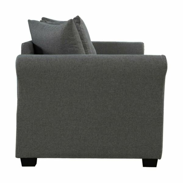 Classic Modern Furniture Living Room Sofa 3 Seater Couch, Dark Grey