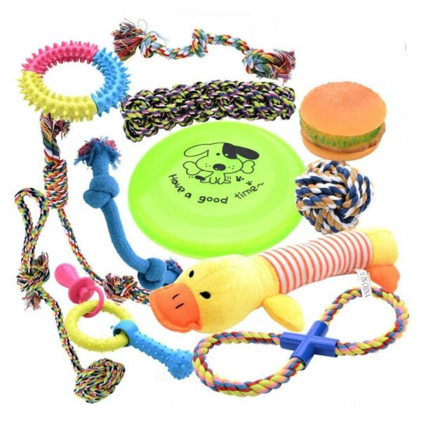[12 Parck] Dog Toys Set with Ropes Chew Flying Squeak Frisbee Ball and Training