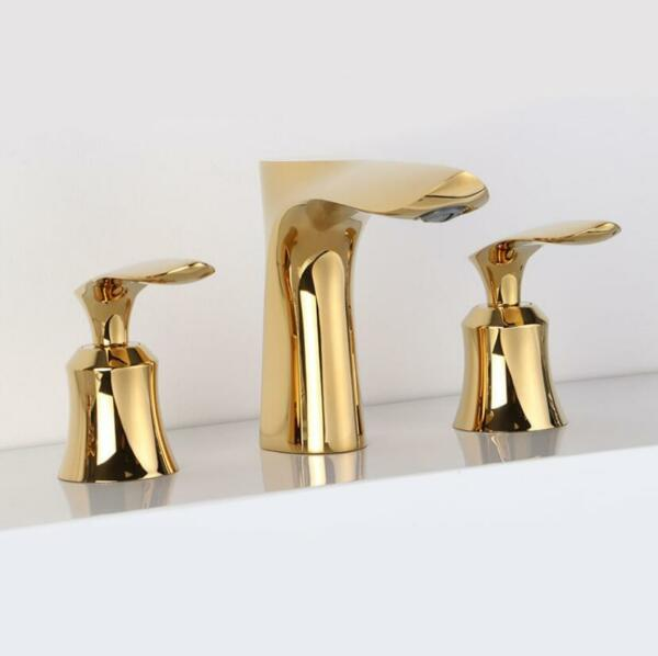 Bathroom Basin Sink Faucet Tap Hot Cold Spout Bathtub Mixer Brass 2 Handles Gold