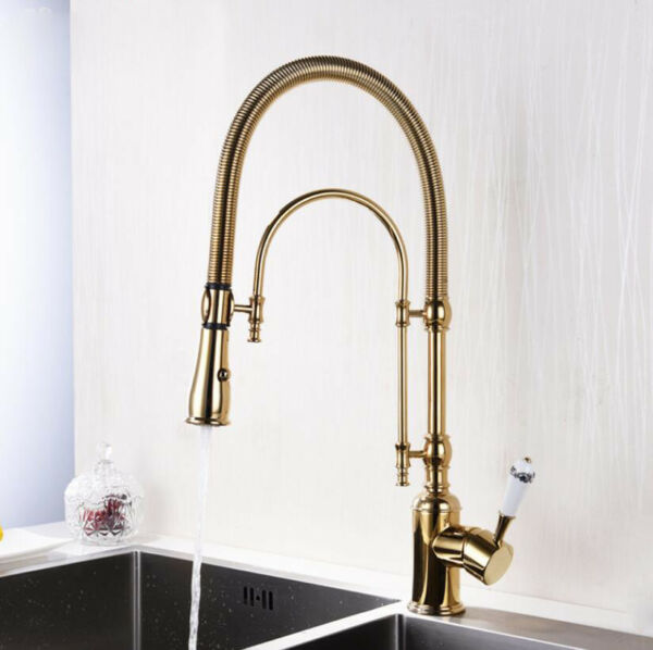 Bathroom Kitchen Sink Tap Hot Cold Spout Two Sprayer Mixer Faucet Swivel Brass