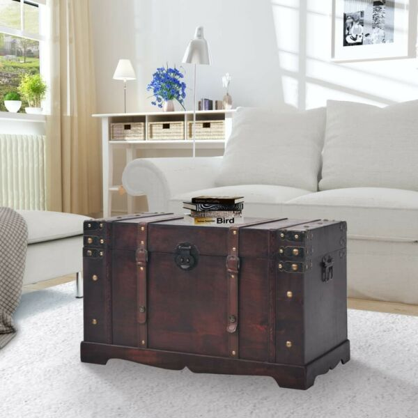 vidaXL Vintage Treasure Chest Wood Storage Trunk Organizer Box Side Stand