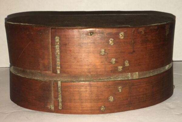 Original Small Antique Oval Band Box Early Wedding Pantry Box