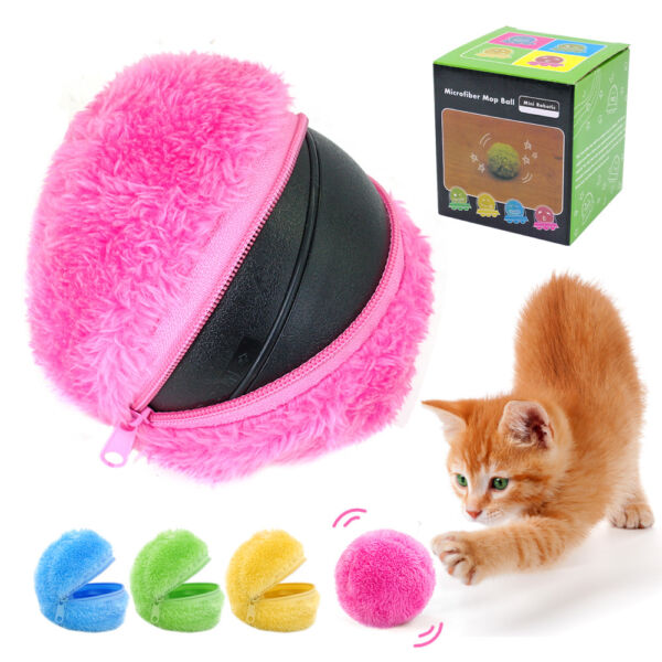 Automatic Dog Toys Chew Plush Clean Floor Roll Sweeper Microfiber Ball for Cats
