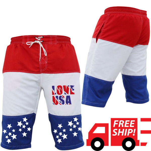 ISH Men's Dry Board Short Beach Summer Swimming Board Casual USA Flag Short