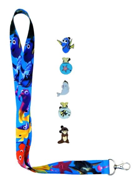 Finding Nemo  Dory Lanyard and 5 Disney Park Trading Pins Starter Set ~ NEW