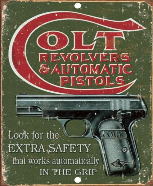 Colt Vintage Revolvers Automatic Pistol Firearm Reproduction Tin Sign 9x12