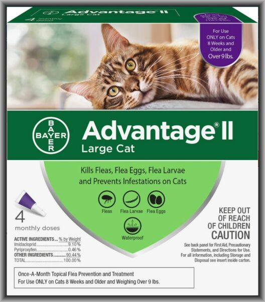 Bayer Advantage II Flea Treatment for Large Cats Over 9 lbs 4 Monthly Doses !!!