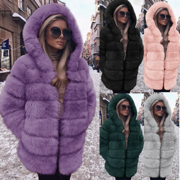 Plus Size Women Fashion Luxury Faux Fur Coat Hooded Autumn Winter Warm Overcoat