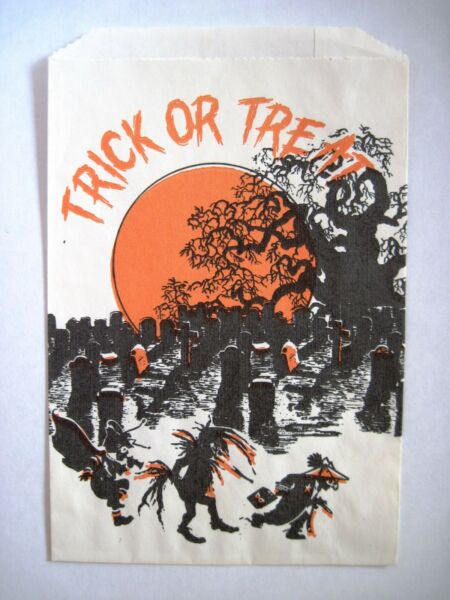 Scary Vintage quot;Trick or Treatquot; Bag w Graveyard amp; Kids with Scary Costumes *