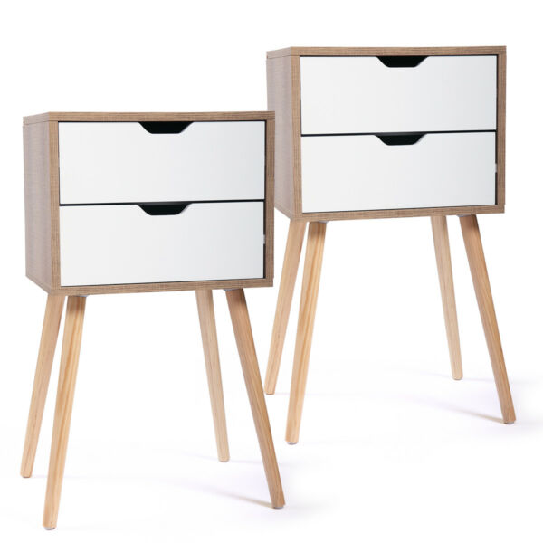 Set of 2 Nightstand 2 Drawers Sofa End Table Storage Wood Cabinet Bedroom White