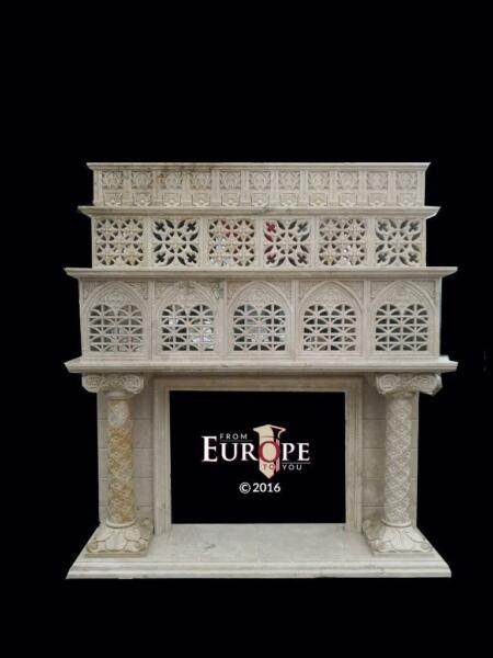 HAND CARVED MARBLE GOTHIC MOORISH PIERCED CARVED FIREPLACE MANTEL  - GMMM2
