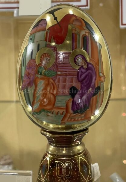 Exclusive Russian Imperial Lomonosov Porcelain Easter Egg The Annunciation Rare