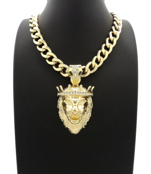 NEW ICED KING LION PENDANT WITH 11mm 20quot; CUBAN CHAIN $27.99