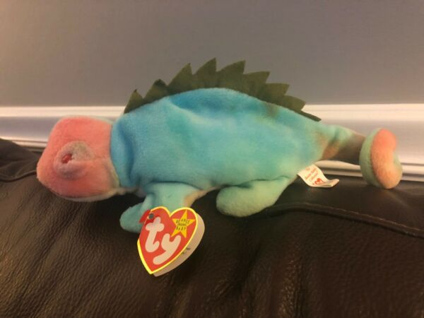 TY 1997 Beanie Baby Iggy the Iguana with tag errors - very rare