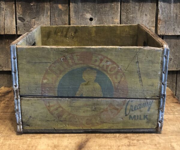 Vintage WHITE BROS Milk & Cream Dairy Wooden Shipping Advertising Crate Baby