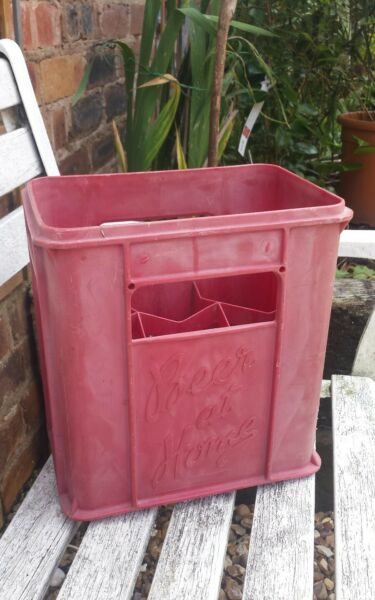 VINTAGE DAVENPORTS BEER AT HOME RED PLASTIC x 6 BOTTLE CRATE DALE ENGLAND