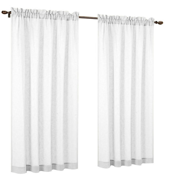 Urbanest Set of 2 Faux Linen Sheer Curtain Panels