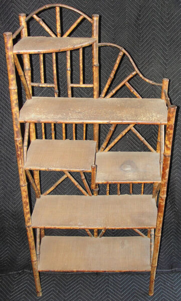 Rare Antique Victorian English  Chinese Japanese Pyrography Bamboo Etagere WOW!