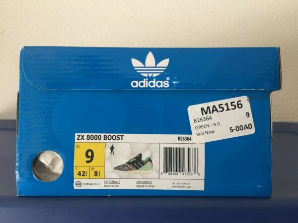 Adidas ZX 8000 Boost Mens B26364 Green Running Shoes Size 9 BRAND NEW