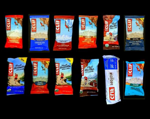 80 CLIF ENERGY PROTEIN BARS ASSORTED SET OF 12 DIFFERENT FLAVORS MIX FAST DEL-RY