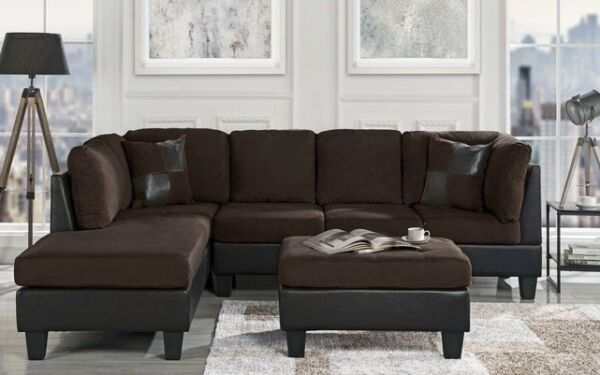 Classic Brown MicrofiberFaux Leather 3-Piece Sectional Sofa Set Chocolate $629.99