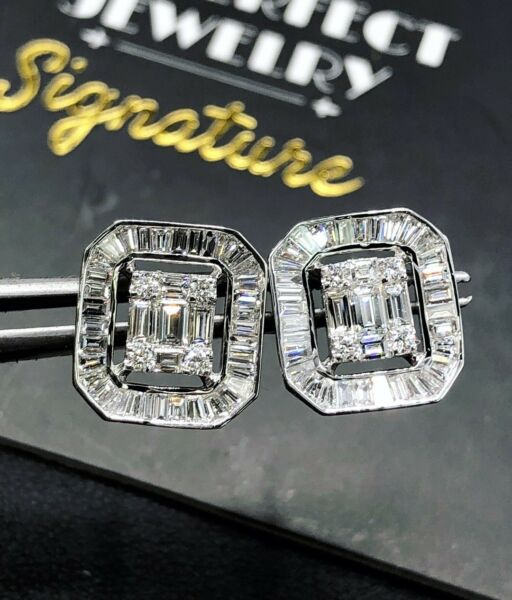 WOW 1.77TCW FVS Diamonds 18k White Gold Earrings Stud Emerald Cut Halo Illusion