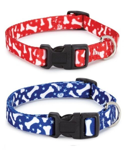 Pooch Pattern Pet Collars Classic Dog Bone Designs Choose Blue or Red