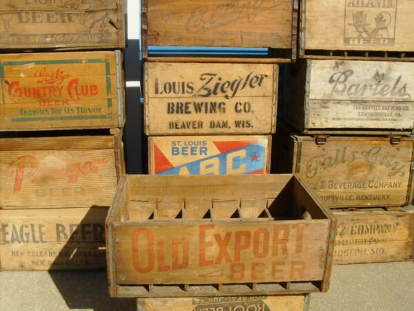 OLD EXPORT BEER CRATE ANTIQUE WOOD ADVERTISING CRATE
