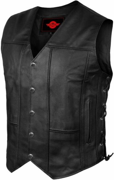 Mens Genuine Leather 10 Pockets Motorcycle Biker Vest Laces Black Brown All Size