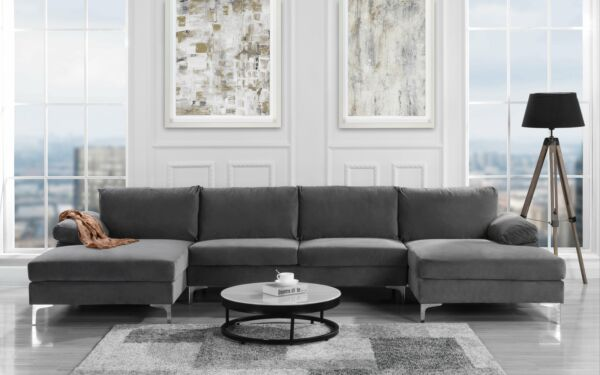Modern Large Velvet Fabric U-Shape Sectional Sofa Double Extra Wide Chaise Grey $699.99