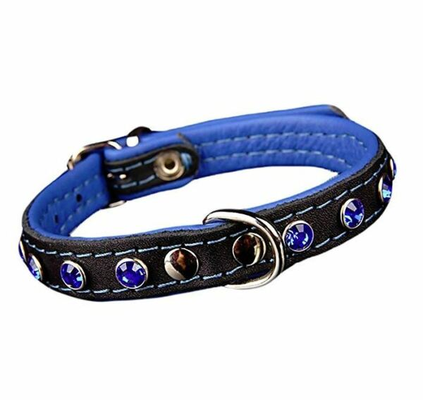 Peak Pooch Premium European Handmade Leather Dog Collar With Jewels Blue S - XS