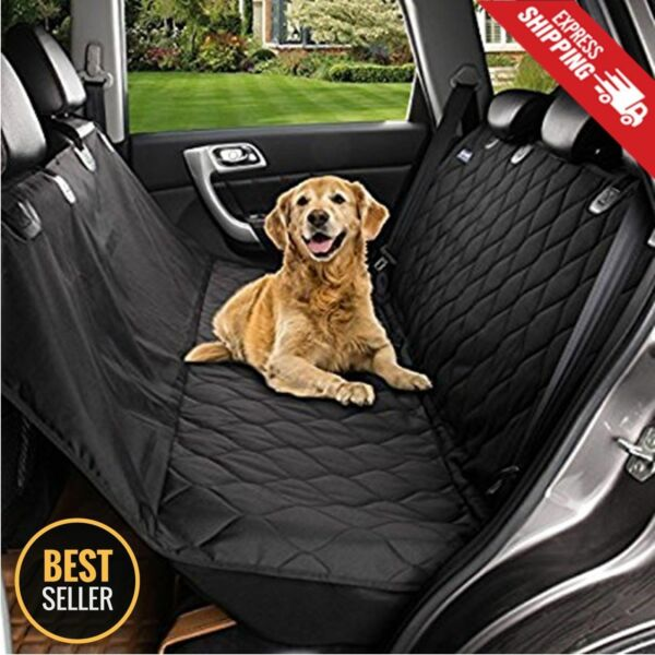 Seat Cover Rear Back Car Pet Dog Travel Waterproof Bench Protector Luxury Black