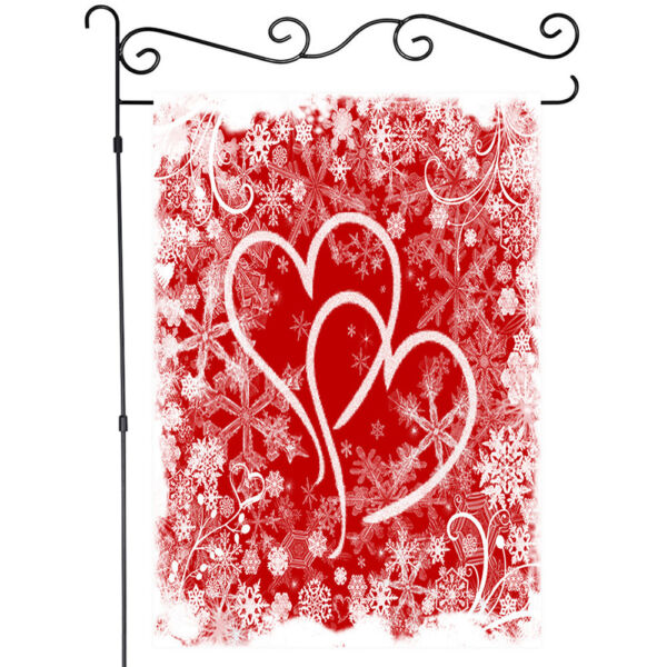 Valentine Heart and Snowflakes Garden Flag House Flags Yard Banner Double Side