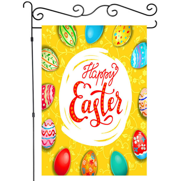 Happy Easter Colorful Eggs Decor Grden Flag House Flags Yard Banner Single Side