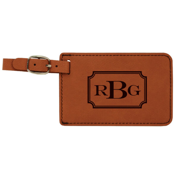 Personalized Leatherette Luggage Tag with Custom Engraved MonogramInitials