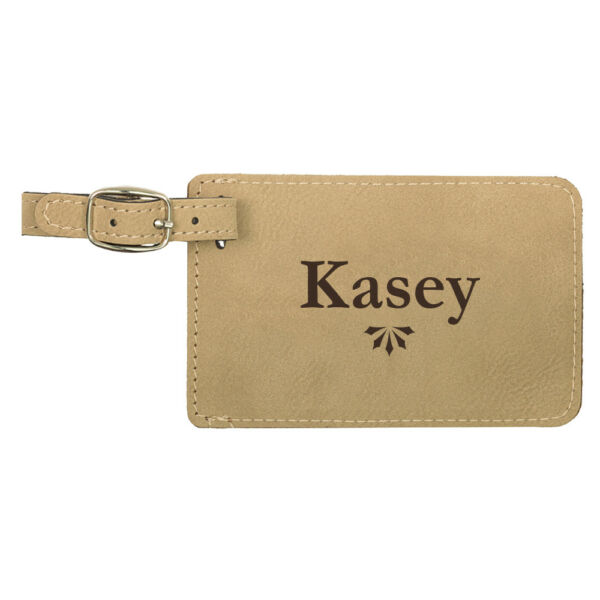 Personalized Leatherette Luggage Tag with Custom Engraved Names