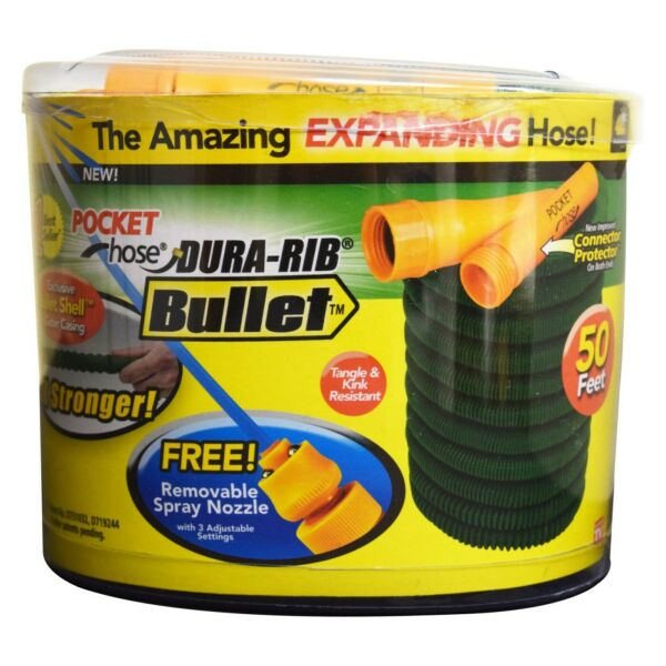 As Seen On TV Bulbhead Pocket Hose Dura-Rib Bullet Expanding Garden Hose 50ft