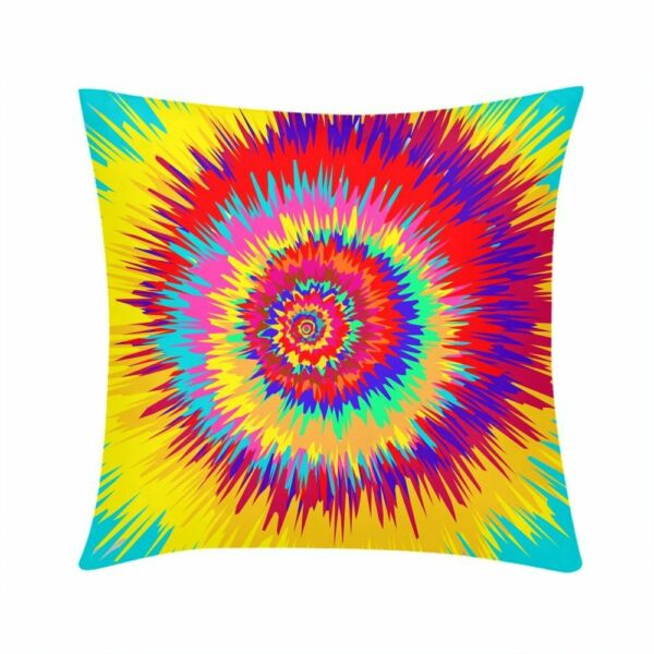 Colorful Pillow Cover Psychedelic Trippy Cushion Case for Sofa Couch Custom $8.54