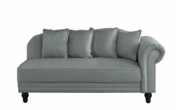 Large Classic Velvet Fabric Living Room Chaise Lounge Nailhead Trim Dark Grey $229.99