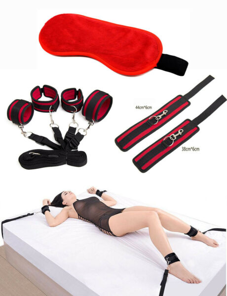 Under Bed Bondage Set Restraint Kit Ankle Cuffs BDSM Toy Velvet Cloth Blindfold $25.99
