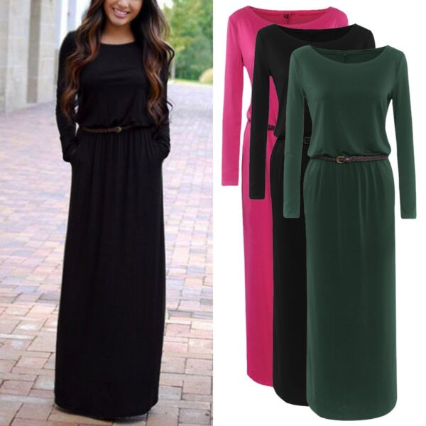 Women's Casual Long Sleeve Loose Plain Belted Pockets Maxi Dress Autumn Winter