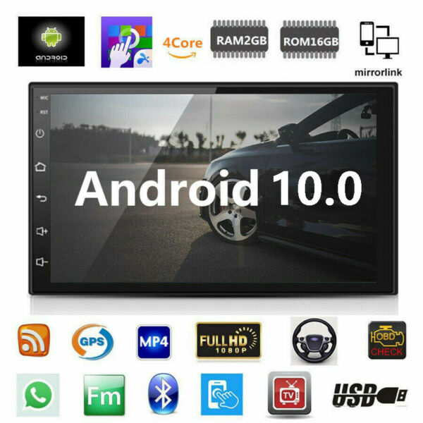 Android 10 Car Stereo GPS Navigation Radio Player Double Din WIFI 7quot; $89.78